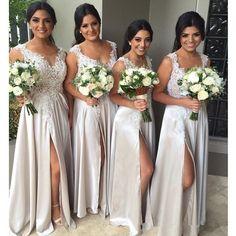 Vestidos De Madrinha 2016 A-line V-neck Long Chiffon Bridesmaid Dresses Front Slit Silver Wedding Party Gowns Custom Made(China (Mainland))