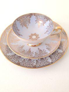 Vintage Kunst Hummendorf Kronach Bavaria Entwurf Prof. Karl Footed Porcelain Teacup, Saucer & Dessert Plate Trio Wedding Gift Inspiration