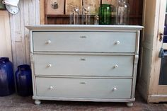 LARGE PAINTED PINE CHEST OF DRAWERS SHABBY CHIC GUSTAVIAN ROUGH LUXE VINTAGE | eBay