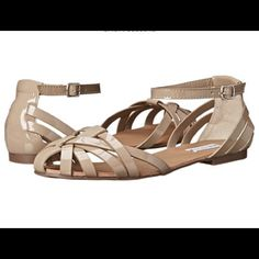 "STEVE MADDEN GLADIATOR SANDAL Taupe patent faux leather upper. Adjustable buckle. Lightly cushioned footbed. 1/2"" heel height. NO TRADES. No modeling. Reasonable offers made through the ""offer"" feature are welcomed and will be considered. Steve Madden Shoes Sandals"