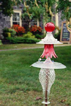Sweet Garden Jewels....garden art constructed from vintage glassware.