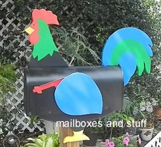 Offering a Red Rooster or Colorful Rooster Post or Wall Mounted Mailboxes along with Woodendipty Bantam Rooster Mailbox