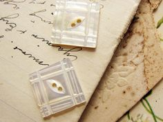 pair of antique mother of pearl buttons  square by faginsdaughter, $9.50