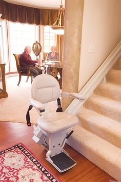 Bruno Elite Stair Lift for straight run stairs - wide seat, beautiful styling & great reliability. Lifetime Warranty on Motor TOO! Commercial Stairs, Independent Living Aids, Big Rapids, Stair Lift, Used Chairs, House Elevation, Foot Rest, Floor Chair, Furniture
