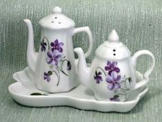 Wayside Pansy Porcelain Teapot Salt and Pepper Set on Tray