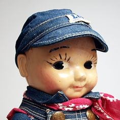 Buddy Lee doll wearing a red bandana 1940s Lee