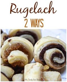 Rugelach Two Ways: Fig-Walnut, and Chocolate -- Ms Toody Goo Shoes Peanut Butter Desserts, Cookie Desserts, Cookie Recipes, Dessert Recipes, Profiteroles, Holiday Baking, Christmas Baking, Christmas Cookies, Sweets