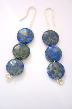 Silver Blue Earrings Lapis  Dangle Natural Stone by mehru on Etsy, $50.00