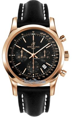 Breitling Transocean Chronograph $16,892  Polished finished 18kt rose gold case and bezel.