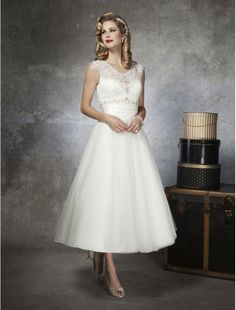 Tulle V-neck Beaded Bodice A-line Tea-length Destination Wedding Dress - Bridal Gowns - RainingBlossoms