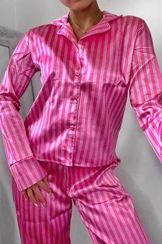 Stripe Print 5 Piece PJ Set   boohoo Sleepwear Sets, Sleepwear Women, Pajama Party Outfit, Silk Pj Set, Victoria Secret Outfits, Victoria Secrets, Long Sleeve Pyjamas, Dresses Kids Girl, Striped Fabrics