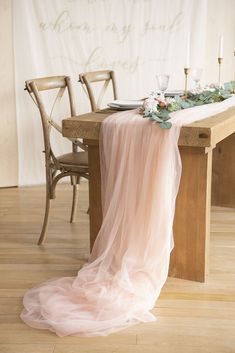 30 x 195 Inch Tulle Table Runner - 4 Colors Reception Table Decorations, Wedding Reception Tables, Wedding Table Centerpieces, Wedding Catering, Long Table Wedding, Table Decor Wedding, Lake Wedding Decorations, Tulle Centerpiece, Minimalist Wedding Reception