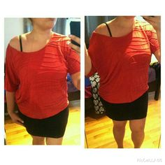 Burnt orange off the shoulder top Can be worn over the shoulder or off the shoulder. very stretchy top and comfy. Fits model pretty loose.  Fits size 8/10 to 12/14  My size: XL  or  14/16 Bust 38D  Model: size M/L or 6/8  Bust 36D Forever 21 Tops