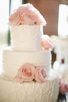 Love the textured tiers on this cake. www.thebridalgallery.com
