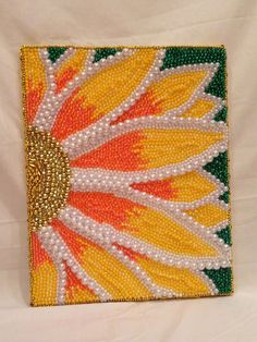 "Items similar to Fully Beaded Hanging Canvas - ""Pretty Flower"" - Awesome and Unique Piece! Ready to Hang! on Etsy Button Art, Button Crafts, Creative Crafts, Creative Art, Seed Bead Art, Beads Pictures, Mardi Gras Beads, Hanging Canvas, Camping Crafts"