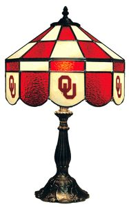 Oklahoma Sooners Stained Glass Executive Table Lamp