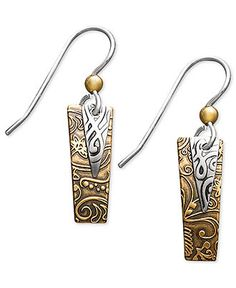 Jody Coyote Sterling Silver and Bronze Earrings, Rectangle Drop Earrings - Earrings - Jewelry & Watches - Macy's