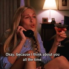 Carrie Bradshaw Cynthia Nixon, Funny Crush Memes, 90s Memes, Crush Humor, Funniest Memes, I Think Of You, Sarah Jessica Parker, Lovers And Friends, Movie Quotes