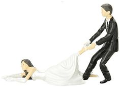 """This 4-1/4"""" (10.8 cm) tall x 6-1/4"""" (15.9 cm) long, polystone cake topper is the perfect thing for the couple who found their way to the alter the hard way."""