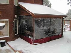 Marine Vinyl to cover outside of porch for winter, easy to install !! Removes easily for spring/summer... Enjoy your porch 24/7 .. Can't wait for mine :)