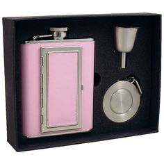 "Visol ""Fiona"" 6oz Flask with Built-In Cigarette Case Stellar Flask Gift Set"