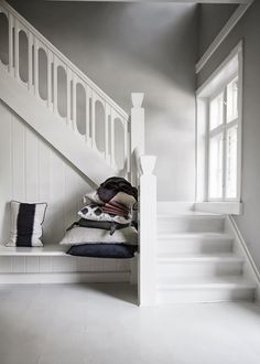 A Danish take on Autumn 2013 My Scandinavian Home Wood Stairs, Basement Stairs, House Stairs, Timber Staircase, White Stairs, Beautiful Stairs, Turbulence Deco, Wooden Staircases, Interior Stairs