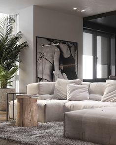 Modern Monochrome Apartment on Behance Living Room Interior, Home Living Room, Living Room Designs, Living Room Decor, Living Spaces, Modern Interior, Home Interior Design, Monochrome Interior, Living Room Inspiration