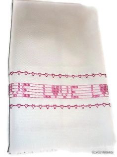 Towel Home Decor Swedish Weaving Huck Pink Love by CanDoStitching