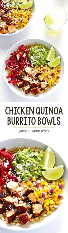 Chicken Quinoa Burrito Bowls -- easy to make, naturally gluten-free, and arguably even more delicious than restaurant-style! Sponsored by Ronzoni Gluten Free Pasta Mexican Food Recipes, New Recipes, Dinner Recipes, Cooking Recipes, Favorite Recipes, Healthy Cooking, Healthy Snacks, Healthy Eating, Healthy Recipes