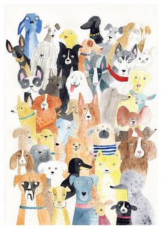Dog print - lots of dog breed print - Story Illustration Ideas - Chien Dog Illustration, Watercolor Illustration, Watercolor Cat, Dog Art, Dog Love, Dog Breeds, Your Dog, Artsy, Art Prints