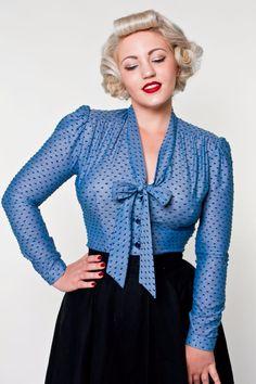 Elsa Blouse - Chambray Swiss Dot Blue - Heart of Haute  - 1