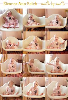 Wish I would have done this! - pics every month to document baby's growth then a collage at their first birthday to see their progress!  KAYLA, this is cute for Kadence