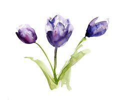 Origineel tulpen Aquarel schilderij. Waterverf tulp door Zendrawing, €45.00