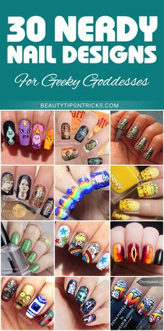 30 amazing nerdy nail art designs to make your inner geek goddess squeal (and maybe snort) with delight! Harry Potter, Star Wars, Hunger Games, TMNT, Rainbow Brite, Pokemon ...