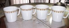 Pyrex Corning BUTTERFLY GOLD Coffee Tea Cups Mugs Set of 4 Oven Microwave Safe #Pyrex