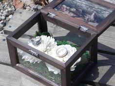 Ring Bearer Box Wedding Ring Box, Wood Glass Flowers