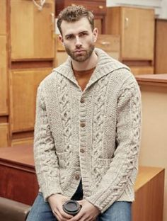 "52/"" Knitting Pattern Chunky  Basketweave Chequered Raglan Jacket  38/"""