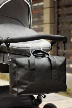 Diaper bag stroller bag womans handbag black real by BLACKBAGSHOP