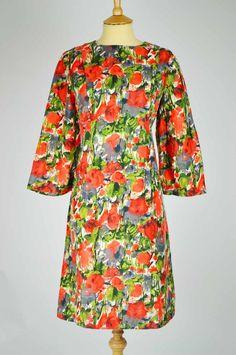 1960s Vintage Dress Orange Green and Grey Floral Silk | Mela Mela Vintage