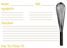 recipe card template 3x5 | ... and then you can size it to a full page or a little index card