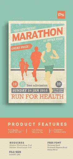 Marathon Event Flyer Template — Photoshop PSD #marathon template #charity • Available here → https://graphicriver.net/item/marathon-event-flyer-template/14347222?ref=pxcr