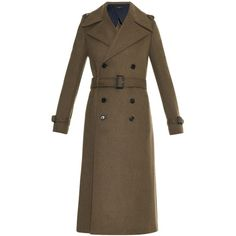 Joseph Military tweed trench coat (46.770 RUB) ❤ liked on Polyvore featuring outerwear, coats, coats & jackets, khaki, brown coat, double breasted trench coat, brown trench coat, double breasted military coat and military style coat