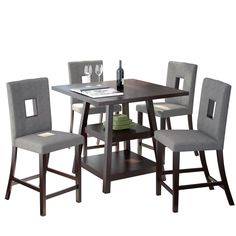 CorLiving Bistro 5pc 36 Counter Height Rich Cappuccino Dining Set (5pc Set - Grey Fabric seats), Brown