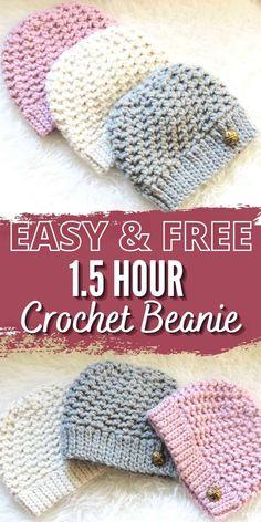 Crochet Baby Hats Free Pattern, Beanie Pattern Free, Crochet Hood, Easy Crochet Hat, Crochet Baby Beanie, Crochet Toddler, Crochet Buttons, Crochet Patterns, Crocheted Hats