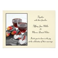Wedding Invitation with wine glasses and red wine