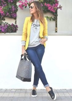blazer with slip on shoes- Casual outfits ideas with slip on shoes http://www.justtrendygirls.com/casual-outfits-ideas-with-slip-on-shoes/