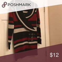 Sweater dress Brand: Love by Chelsey sweater dress (Size Large with colors red, black, and light grey) Dresses Long Sleeve