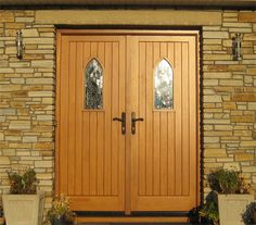 Double Sheeted Doors with Gothic Windows - Light Oak