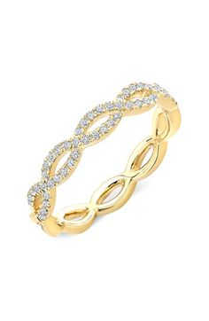 "Stackable diamond ""weave"" ring. Gorgeous!"
