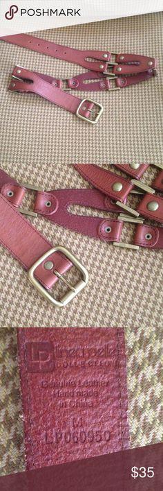LINEA PELLE Leather Belt with Brass SZ M Cognac leather belt with solid brass hardware Linea Pelle Accessories Belts